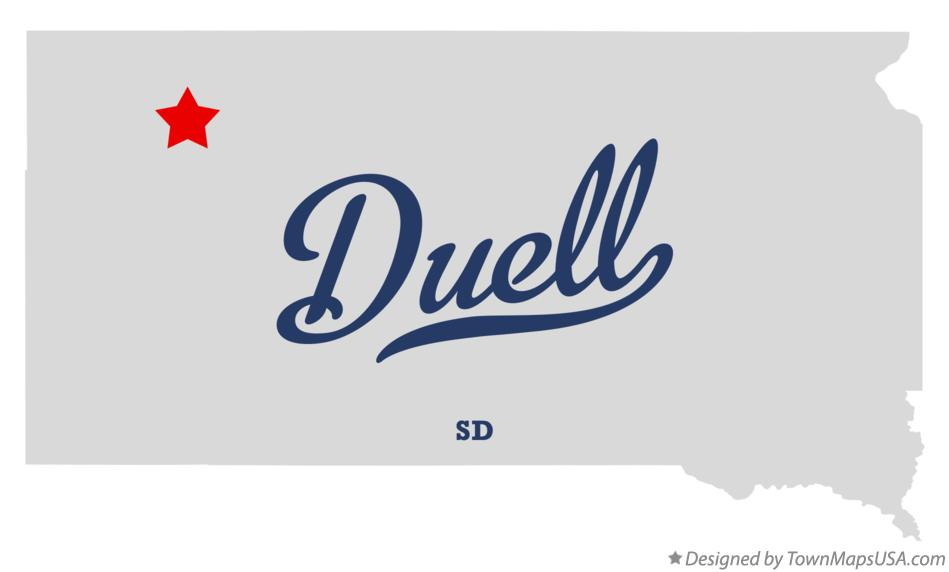 Map of Duell South Dakota SD
