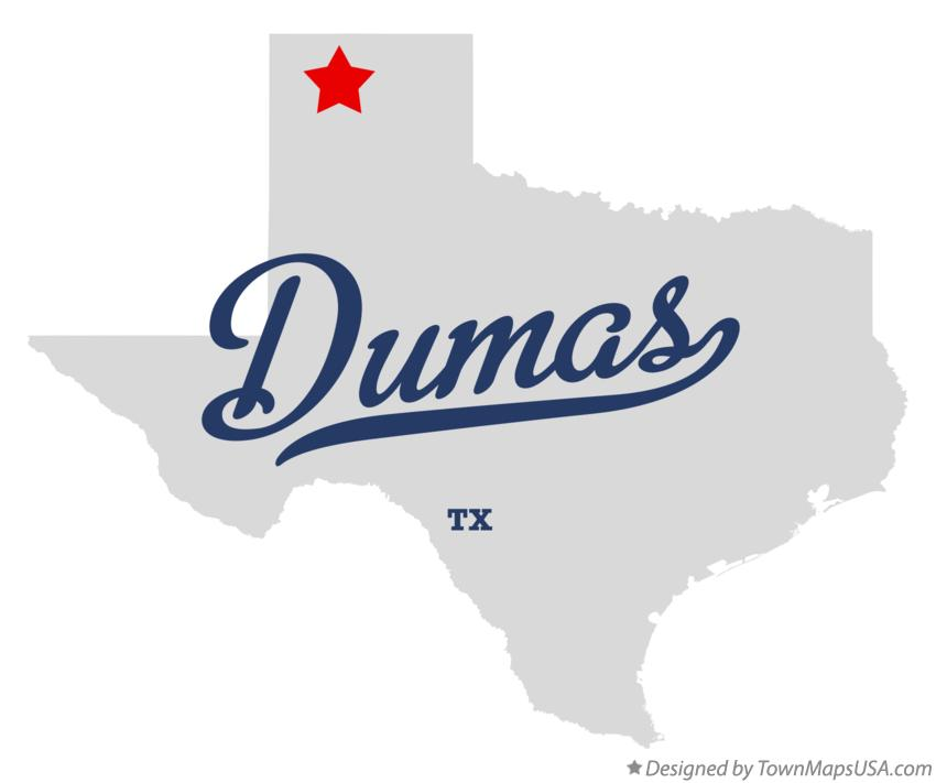 Map of Dumas Texas TX
