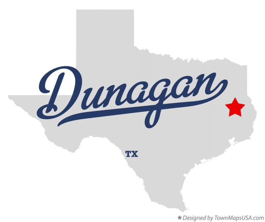 Map of Dunagan Texas TX