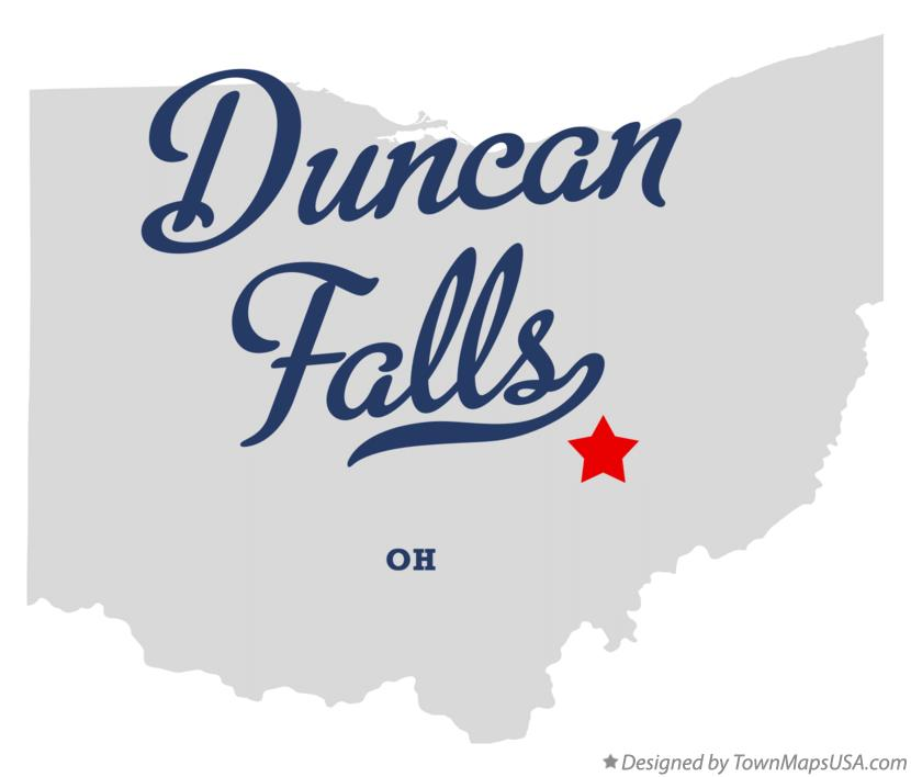 Map of Duncan Falls Ohio OH