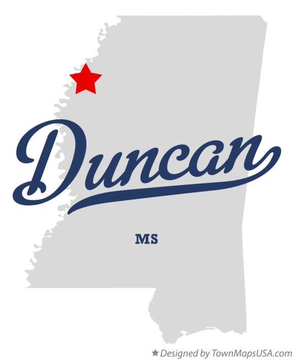 Map of Duncan Mississippi MS