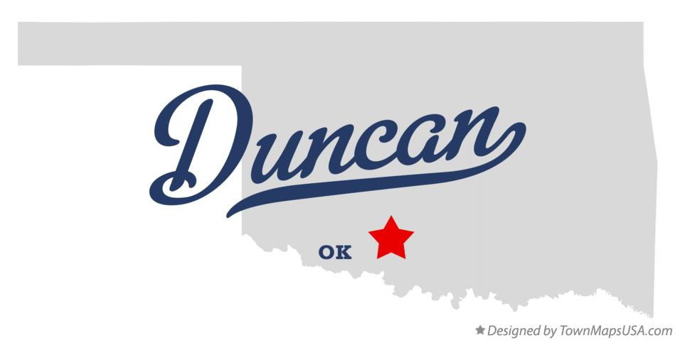 Map of Duncan, OK, Oklahoma