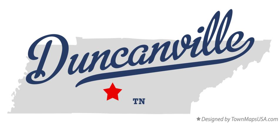 Map of Duncanville Tennessee TN