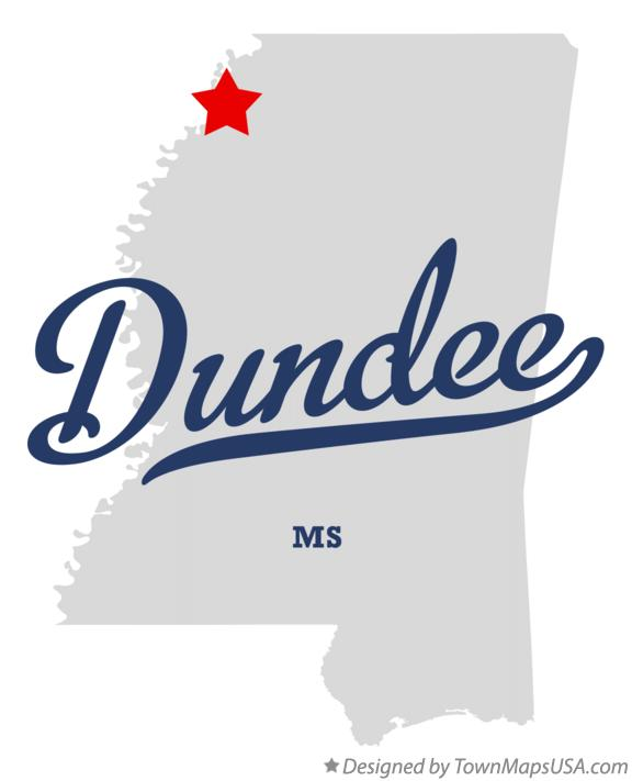 Map of Dundee Mississippi MS