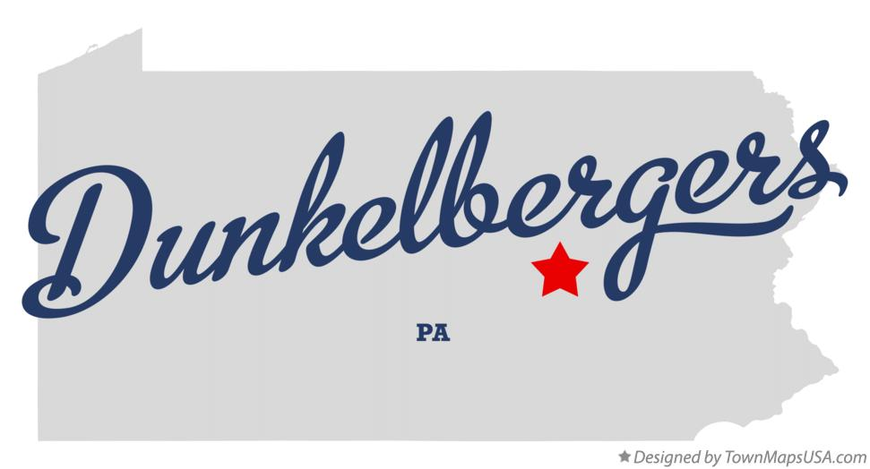 Map of Dunkelbergers Pennsylvania PA