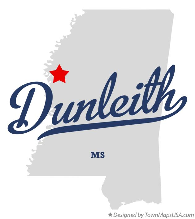 Map of Dunleith Mississippi MS