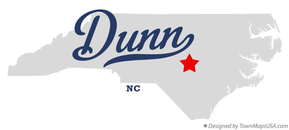 Map of Dunn North Carolina NC