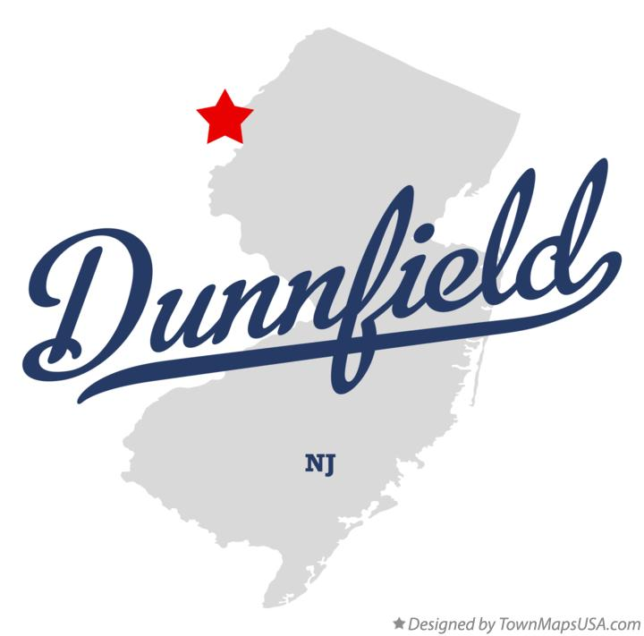 Map of Dunnfield New Jersey NJ