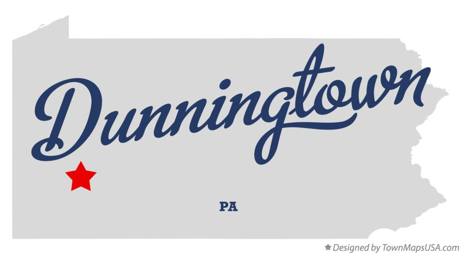 Map of Dunningtown Pennsylvania PA