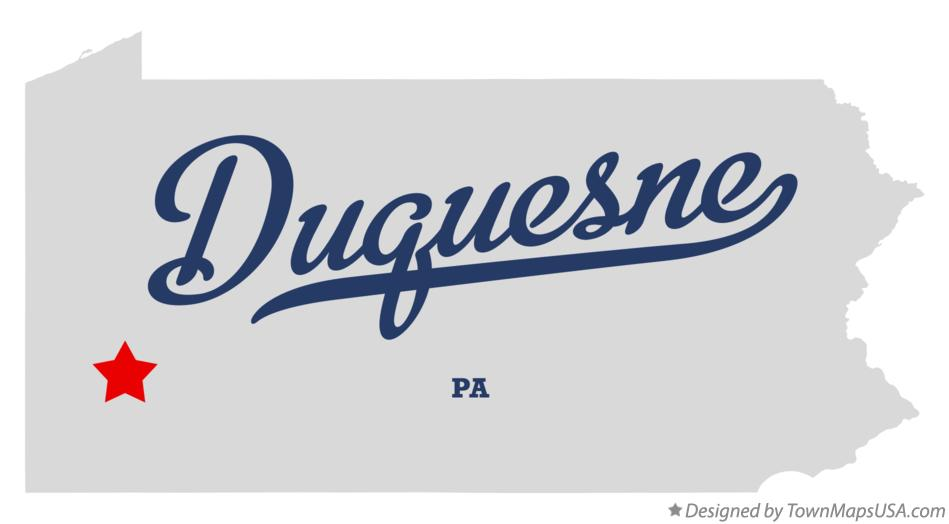 Map of Duquesne Pennsylvania PA
