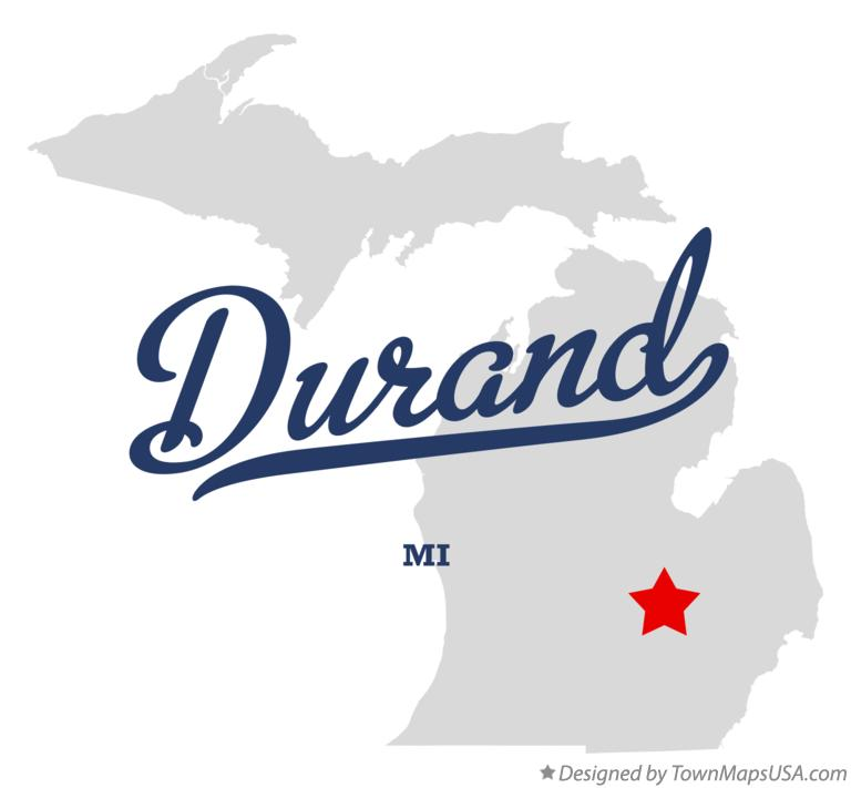 Map of Durand Michigan MI