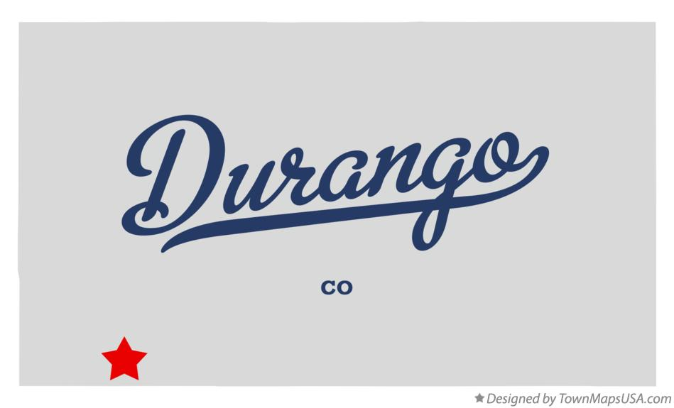 Map of Durango Colorado CO