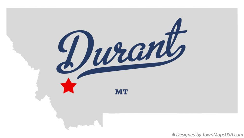 Map of Durant Montana MT