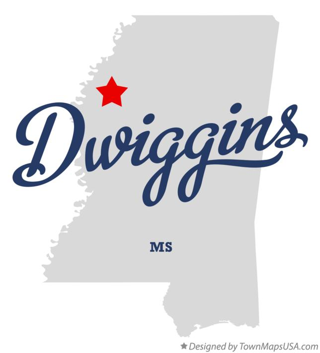 Map of Dwiggins Mississippi MS