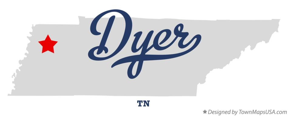 Map of Dyer Tennessee TN