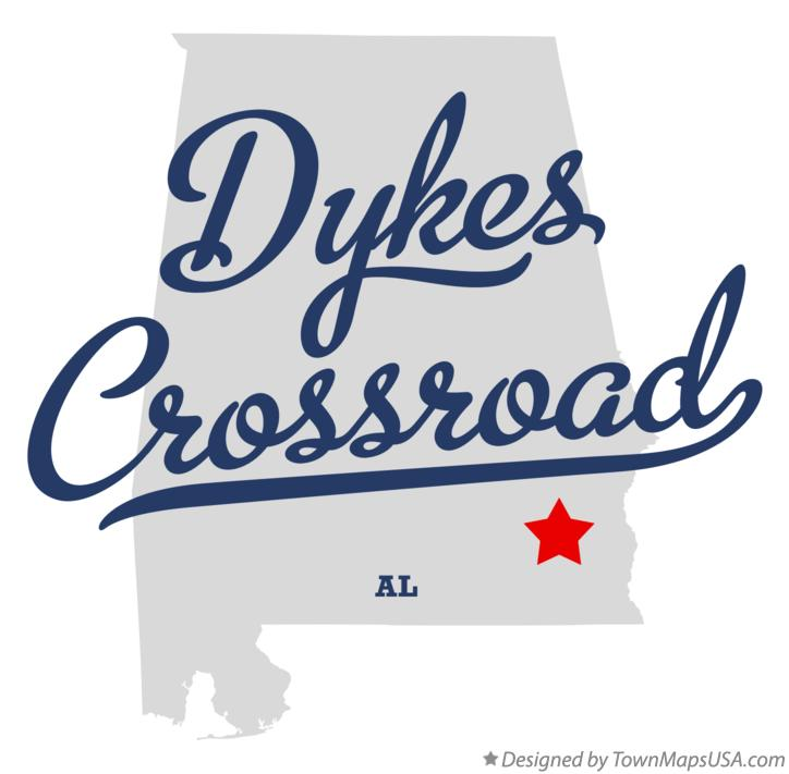 Map of Dykes Crossroad Alabama AL