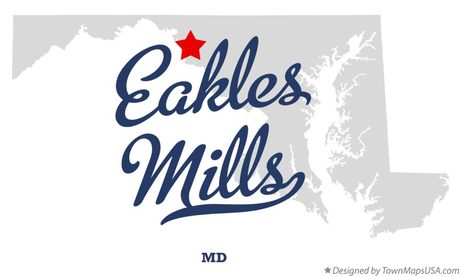 Map of Eakles Mills Maryland MD