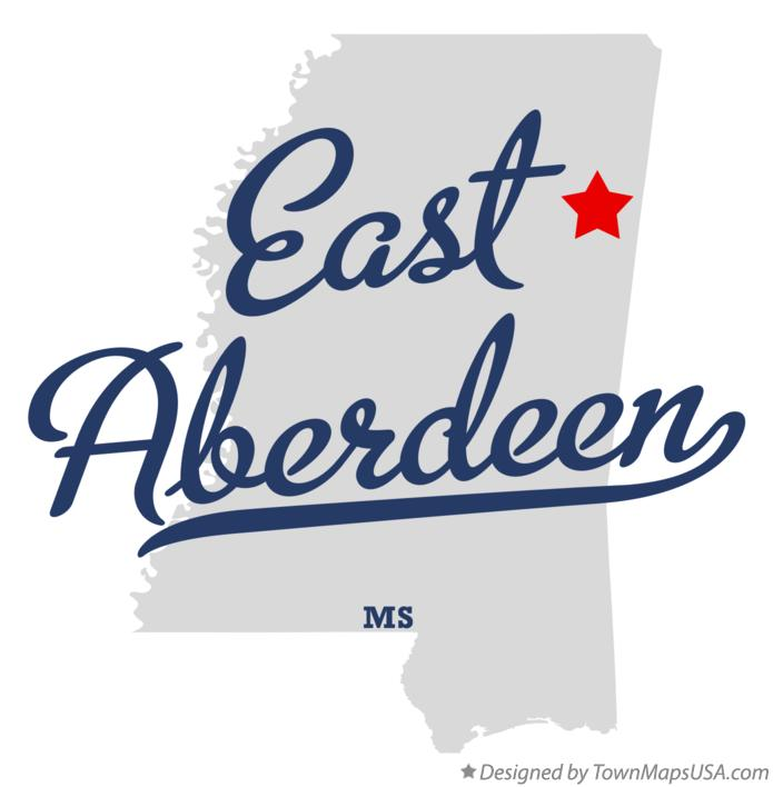 Map of East Aberdeen Mississippi MS