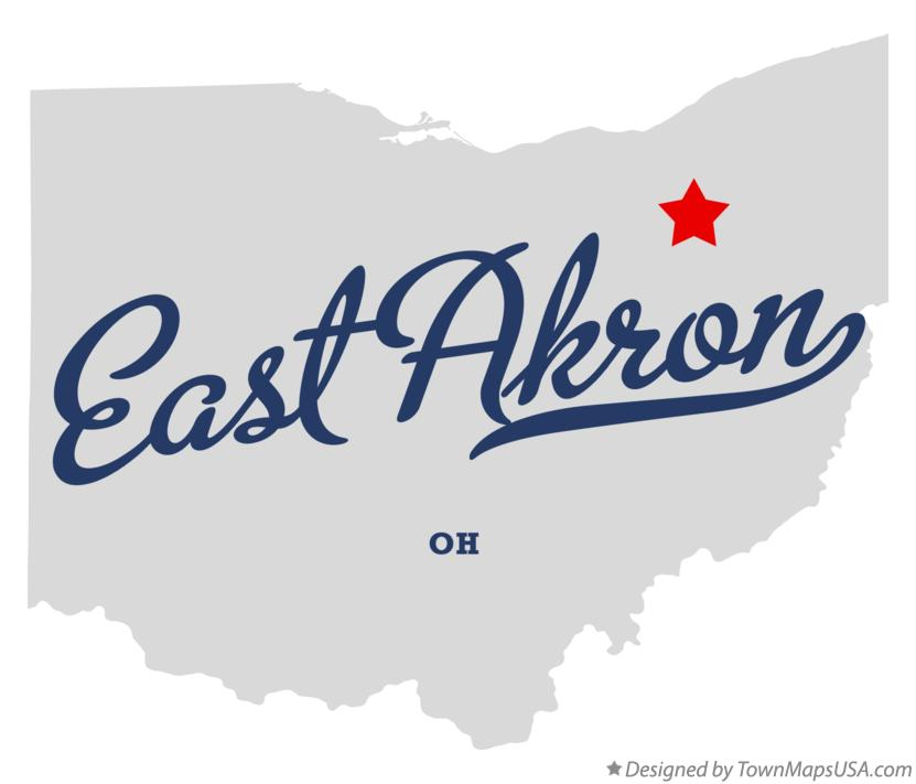 Map of East Akron Ohio OH