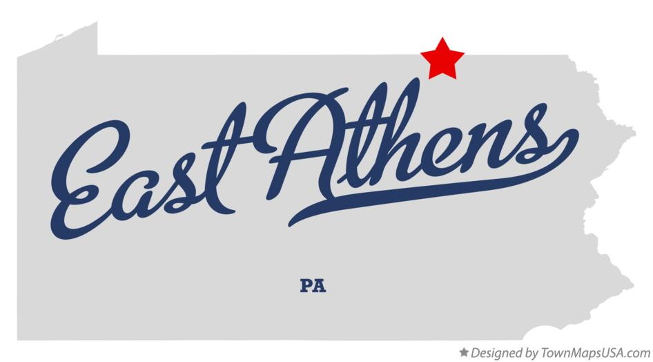 Map of East Athens Pennsylvania PA