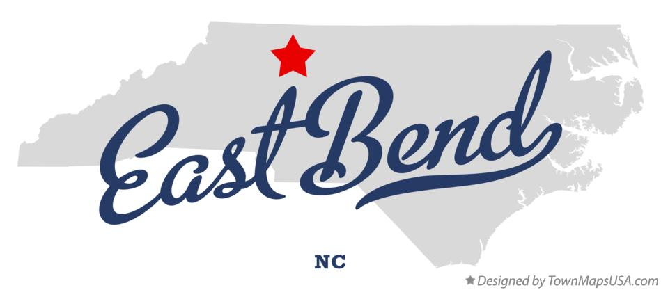 Map of East Bend North Carolina NC