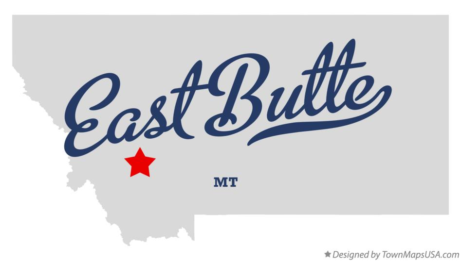 Map of East Butte Montana MT