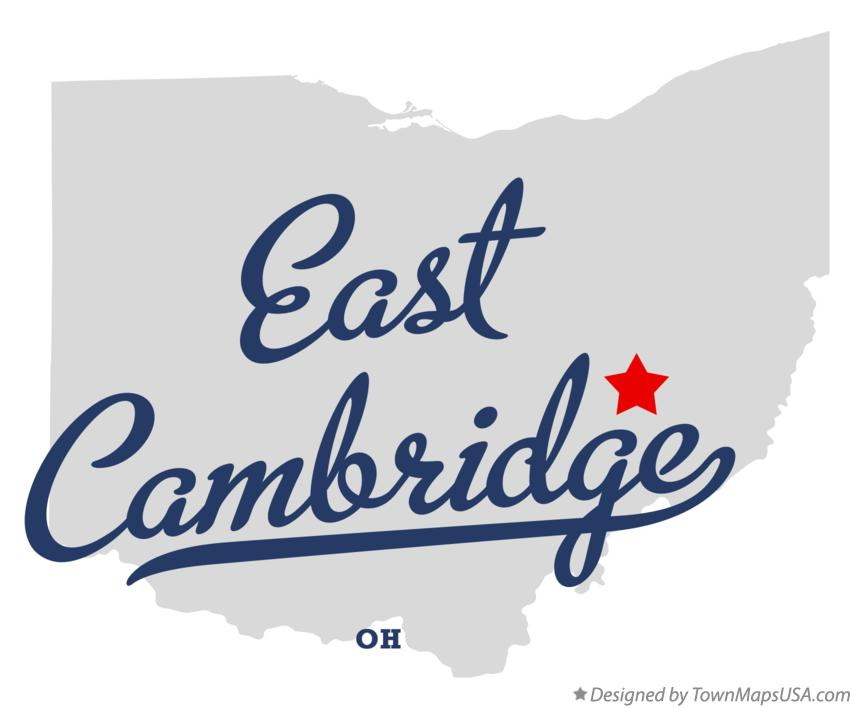 Map of East Cambridge Ohio OH