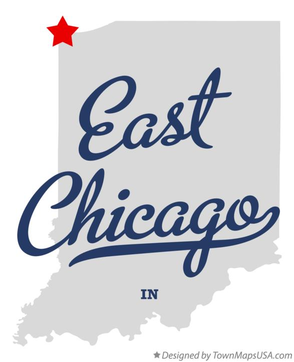 Map of East Chicago Indiana IN