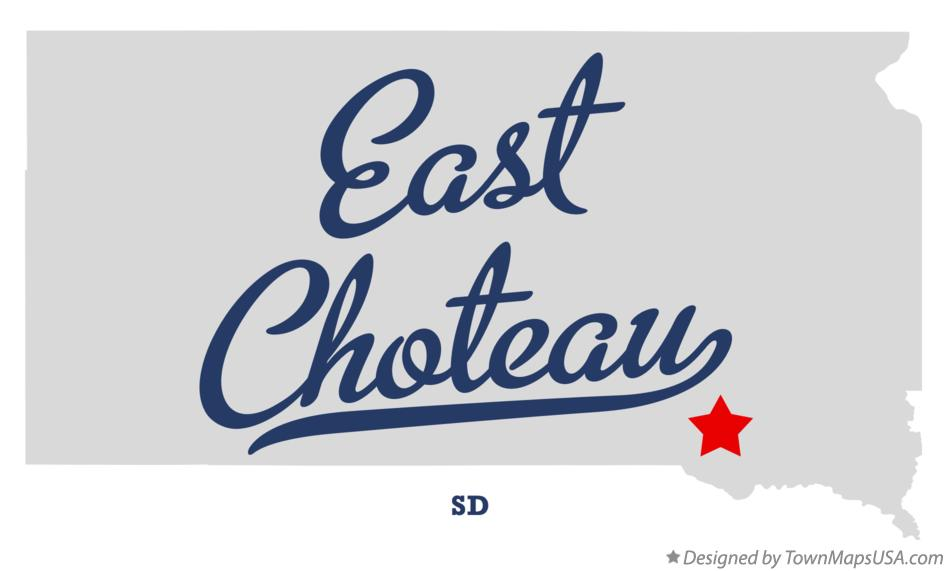 Map of East Choteau South Dakota SD