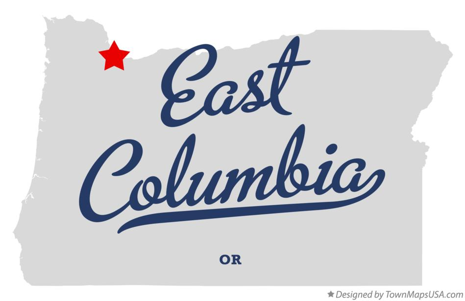 Map of East Columbia Oregon OR