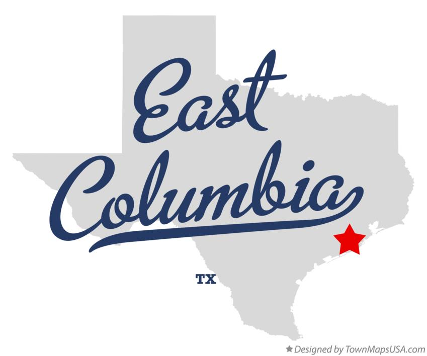 Map of East Columbia Texas TX