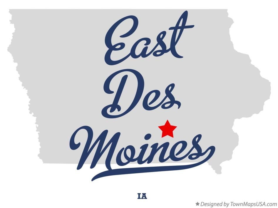 Map of East Des Moines Iowa IA
