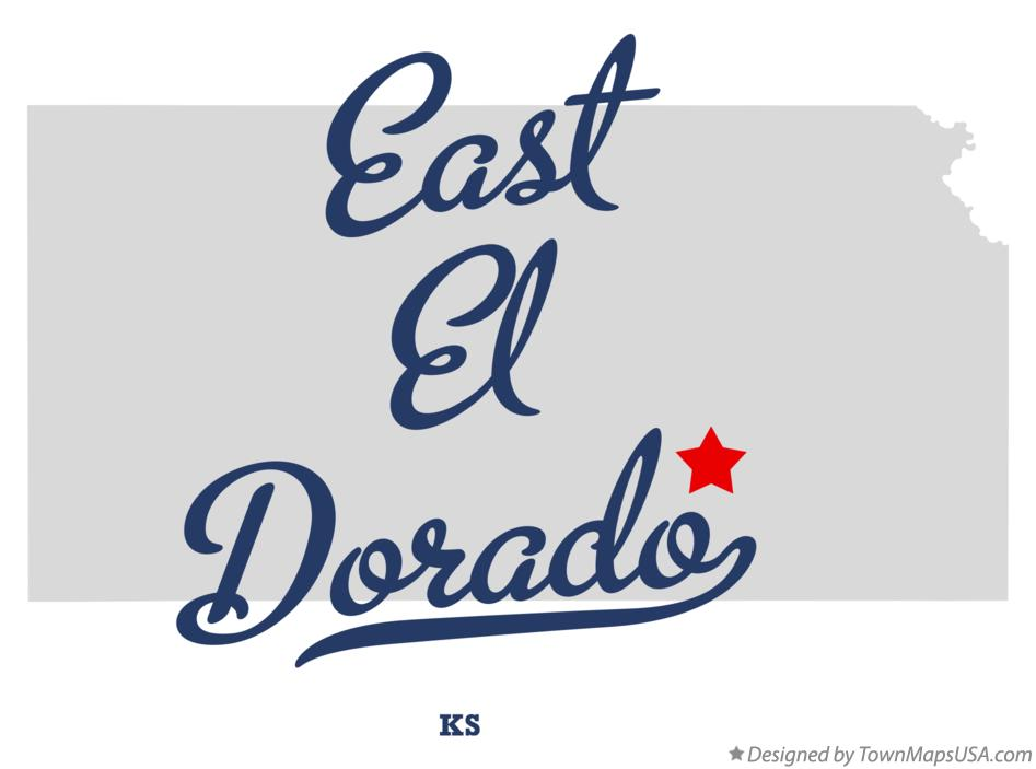 Map of East El Dorado Kansas KS