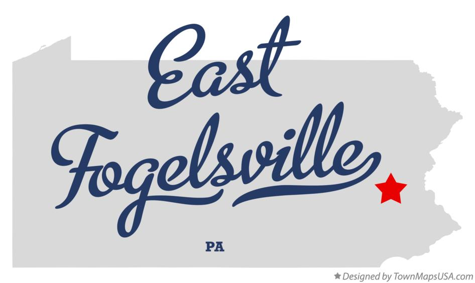Map of East Fogelsville Pennsylvania PA