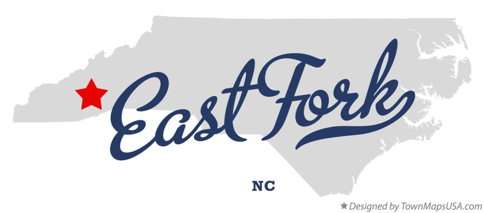 Map of East Fork North Carolina NC