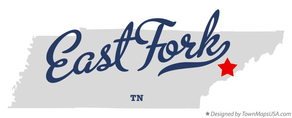 Map of East Fork Tennessee TN