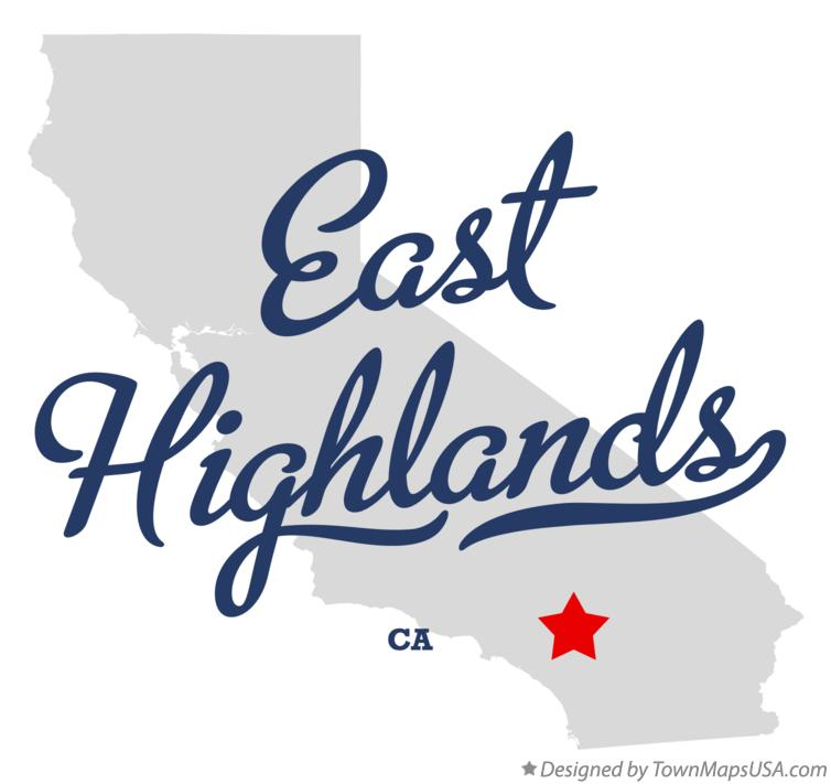 Map of East Highlands California CA