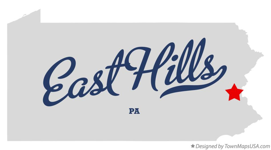 Map of East Hills Pennsylvania PA