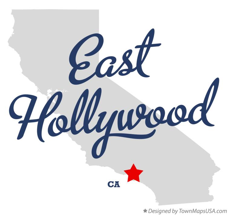 Map of East Hollywood California CA