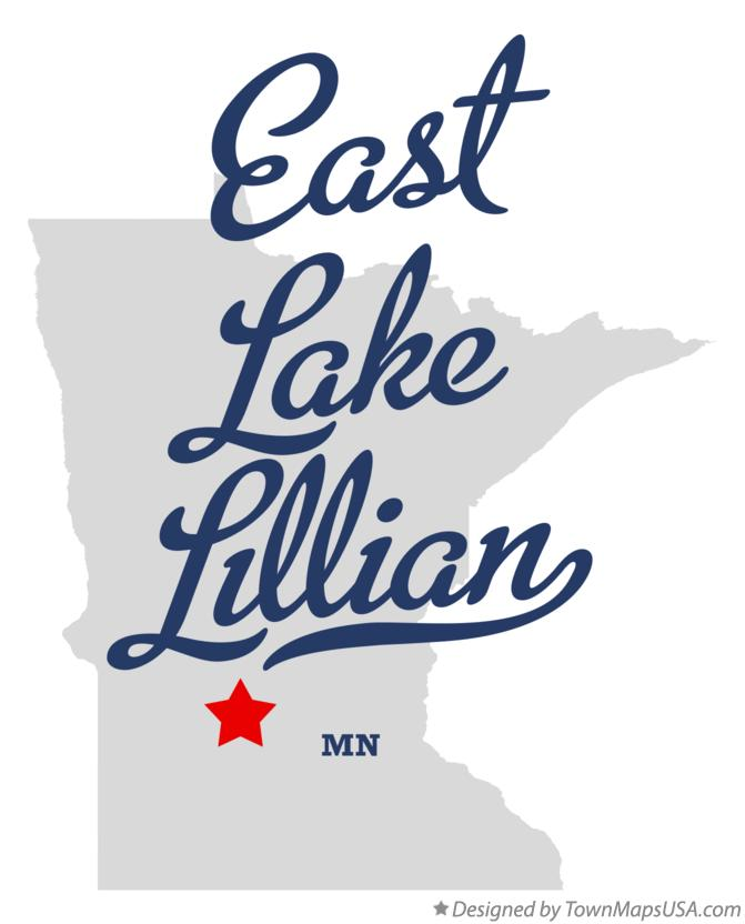 Map of East Lake Lillian Minnesota MN