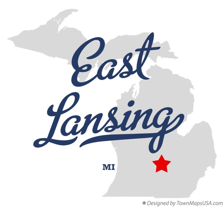 Map of East Lansing MI Michigan