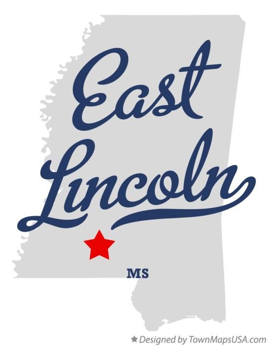 Map of East Lincoln Mississippi MS