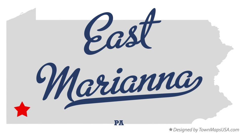 Map of East Marianna Pennsylvania PA