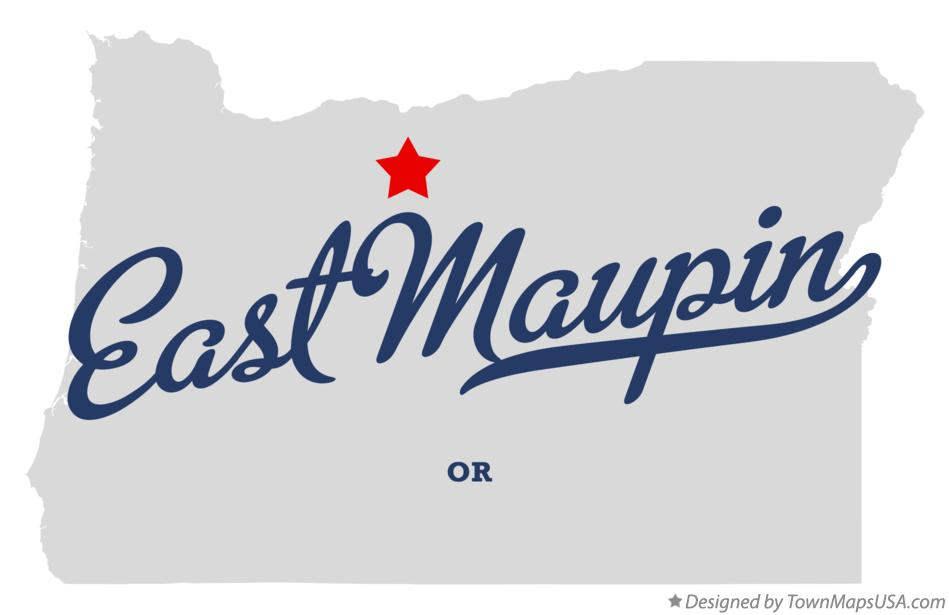 Map of East Maupin Oregon OR
