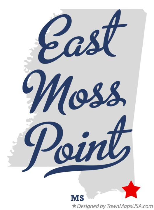 Map of East Moss Point Mississippi MS