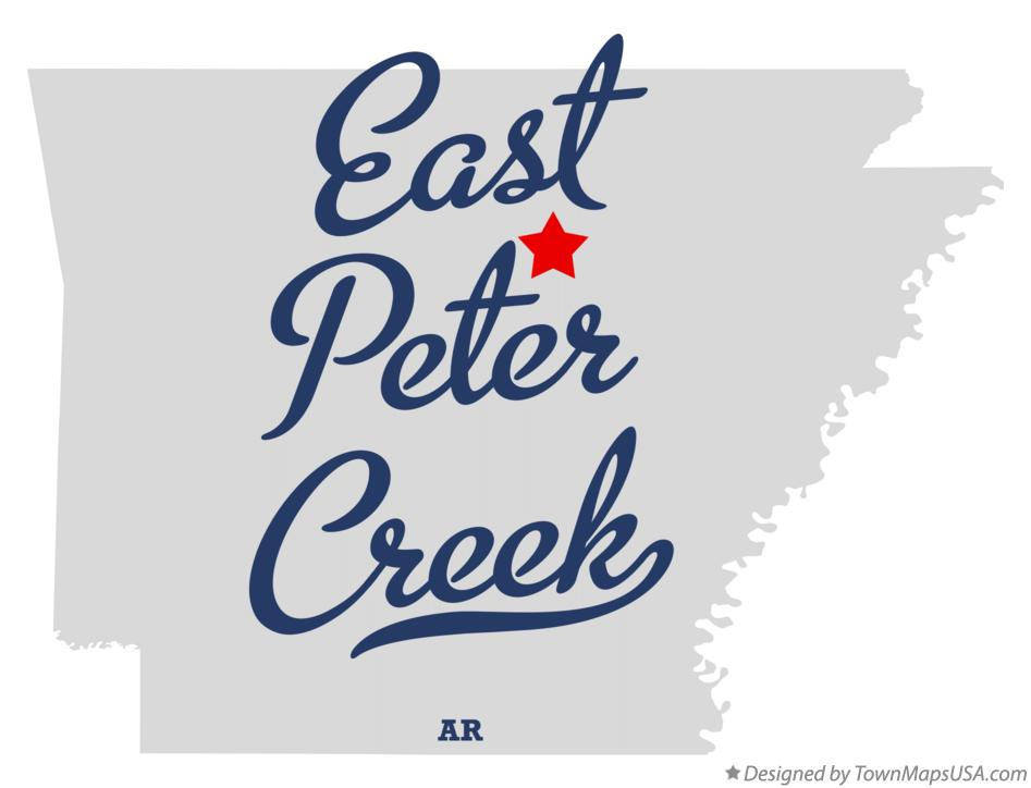 Map of East Peter Creek Arkansas AR