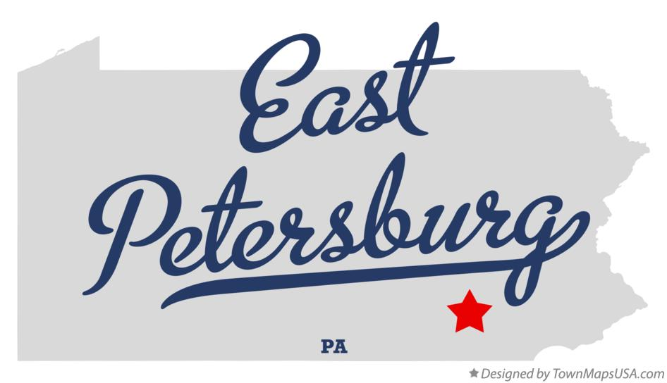 Map of East Petersburg Pennsylvania PA