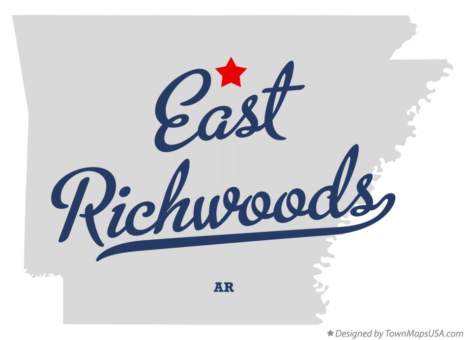 Map of East Richwoods Arkansas AR