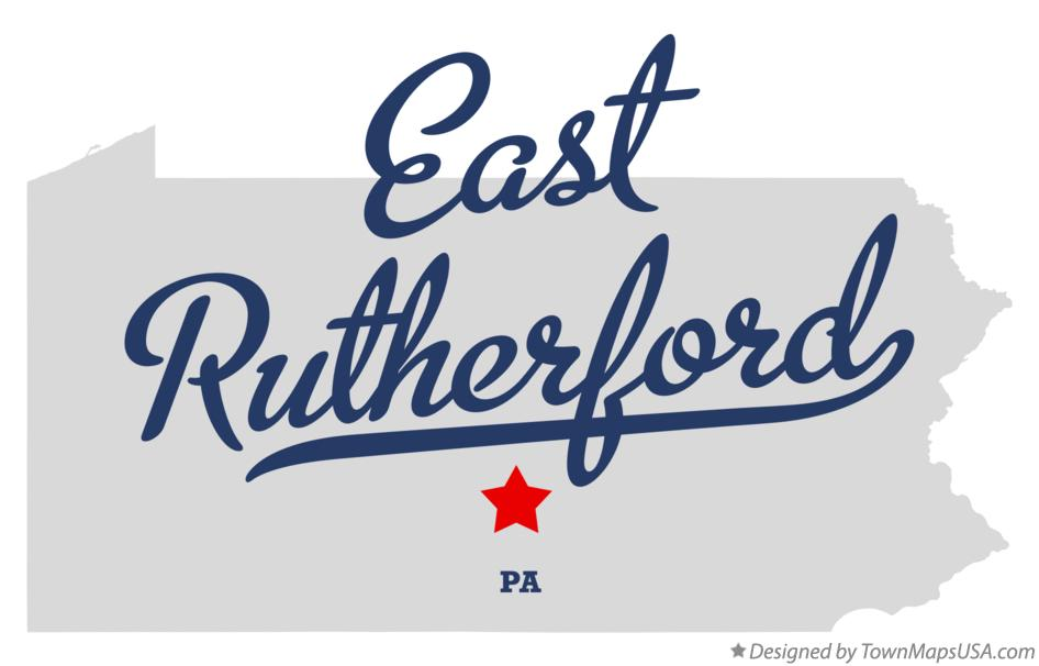 Map of East Rutherford Pennsylvania PA