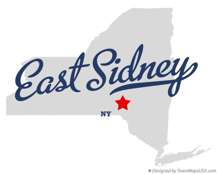 Map of East Sidney New York NY